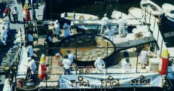Il padellone utilizzato a Camogli per la Sagra del Pesce